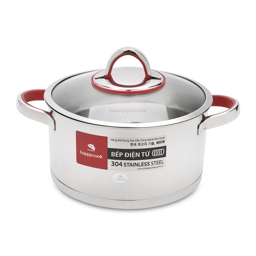 Nồi inox 304 nắp kính 3 đáy bếp từ 24cm Happy Cook Aries HC-24AR