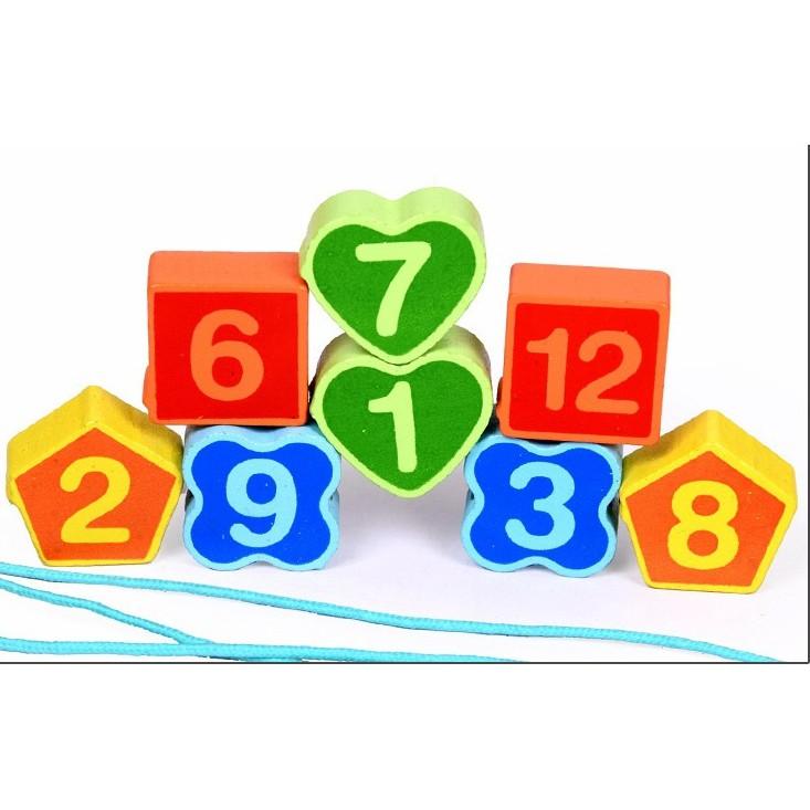 Đồ chơi gỗ - Đồng hồ xâu vòng hình khối Vivitoys