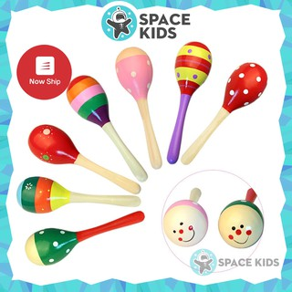 Đồ chơi cho bé Lục lạc, Xúc xắc gỗ đầu tròn nhiều màu sắc cho bé Space Kids thumbnail