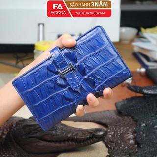 Ví nữ da cá sấu thật Fadoda màu xanh lavi làm từ da cá sấu - FCW26-06 thumbnail