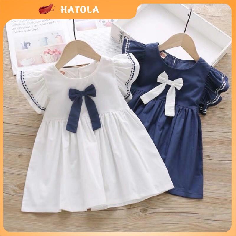 Váy cho bé gái siêu xinh đi học đi chơi vải cotton sợi, đầm nữ cho bé HATOLA