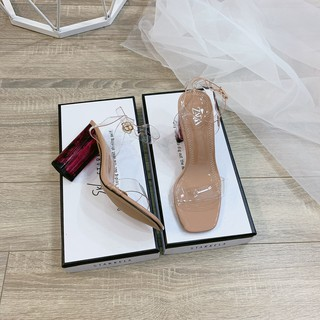 Sandal quai mica trong gót mận quai cài - 7P