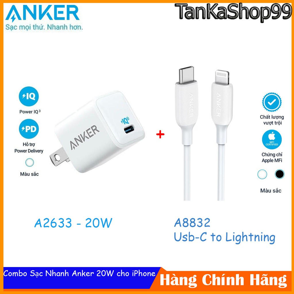 Combo Sạc Nhanh Anker powerport III nano 18W / 20w + Cáp Usb-C to Lightning 0,9m
