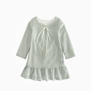 Đầm Sanlutoz Vải Ren Thắt Nơ Có Màu Xanh Lá Dành Cho Bé Gái