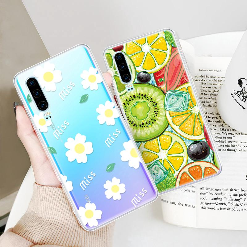 Clear Soft TPU Case For Huawei Y7 Pro Y9 2019 P30 Flower Pattern