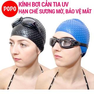 Kính bơi nam nữ chính hàng POPO 1938 mắt kiếng bơi người lớn chống tia UV, chống lóa dùng được cho bé trẻ em từ 8 tuổi thumbnail
