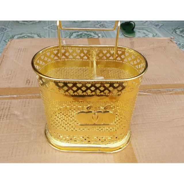 Giỏ đũa inox 2 ngăn mạ vàng