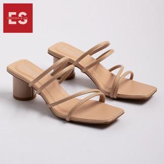 Hình ảnh Dép cao gót Erosska thời trang mũi vuông phối dây quai mảnh cao 5cm màu kem _ EM038-0