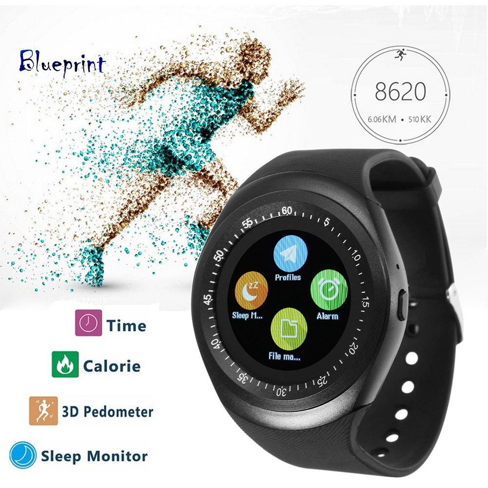 ☞BPBluetooth Sports Round Smart Watch Pedometer Health Monitor for iOS Android