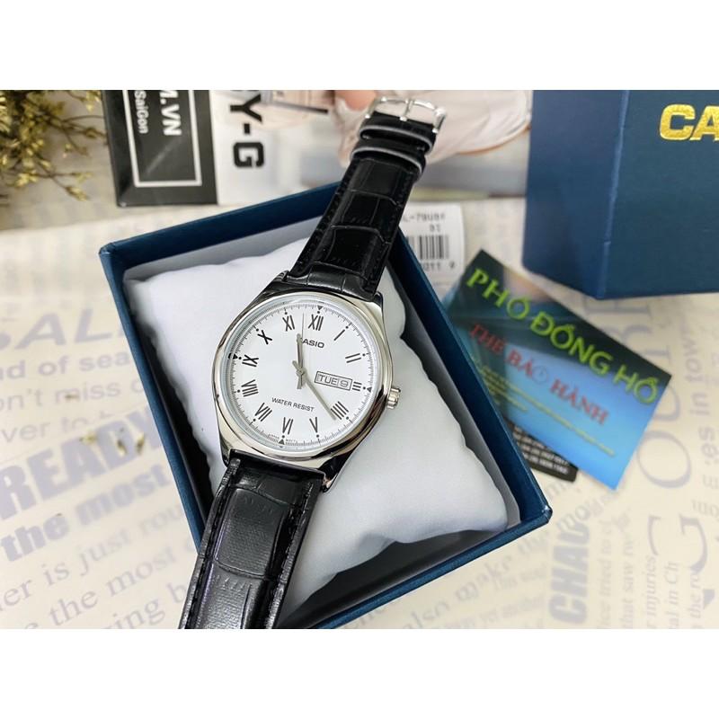 Đồng hồ nam dây da Casio chính hãng Anh Khuê MTP-V006L-7BUDF