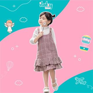 Yếm dạ cho bé gái ILABY  2 lớp phối cúc lót habutai mềm mịn [V165]