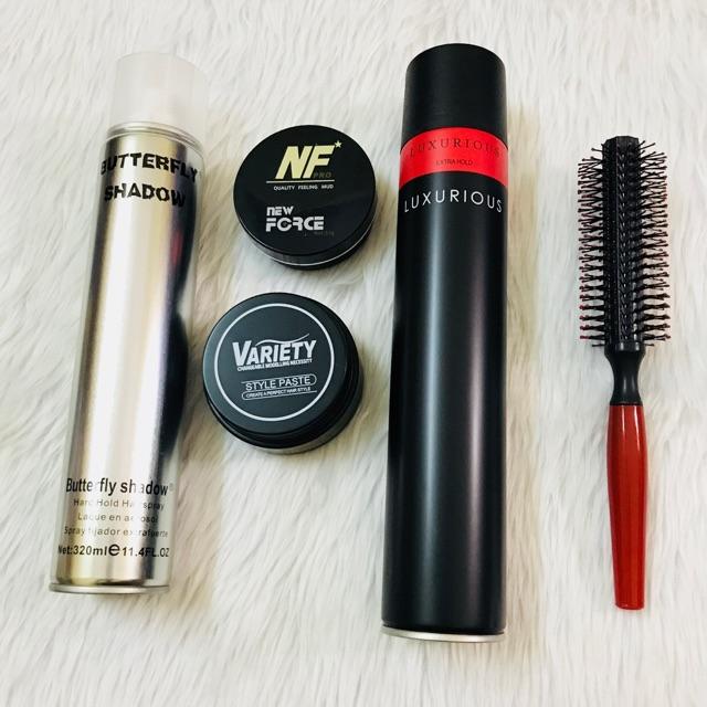 Combo sáp vuốt tóc Variety + Newforce + gôm Luxurious + Butterfly + lược tròn