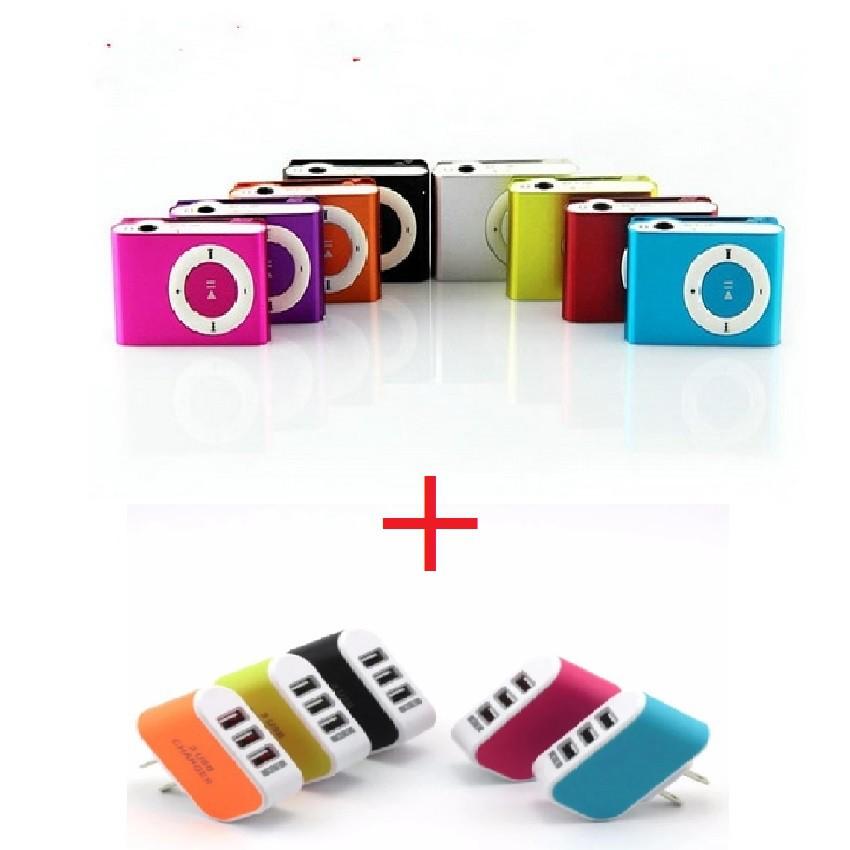 Combo máy nghe nhạc Mp3 kèm tai nghe -dc1295 + cốc sạc 3 cổng USB -dc2272