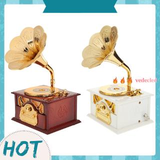 [vedecled] Antique Wooden Metal Phonograph Hand Crank Music Box Creative Classic Decor /ND