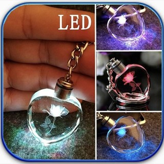 ✨babygirls🍭Mini Heart Lamp Key Chain Ring LED Flashlight Luminous
