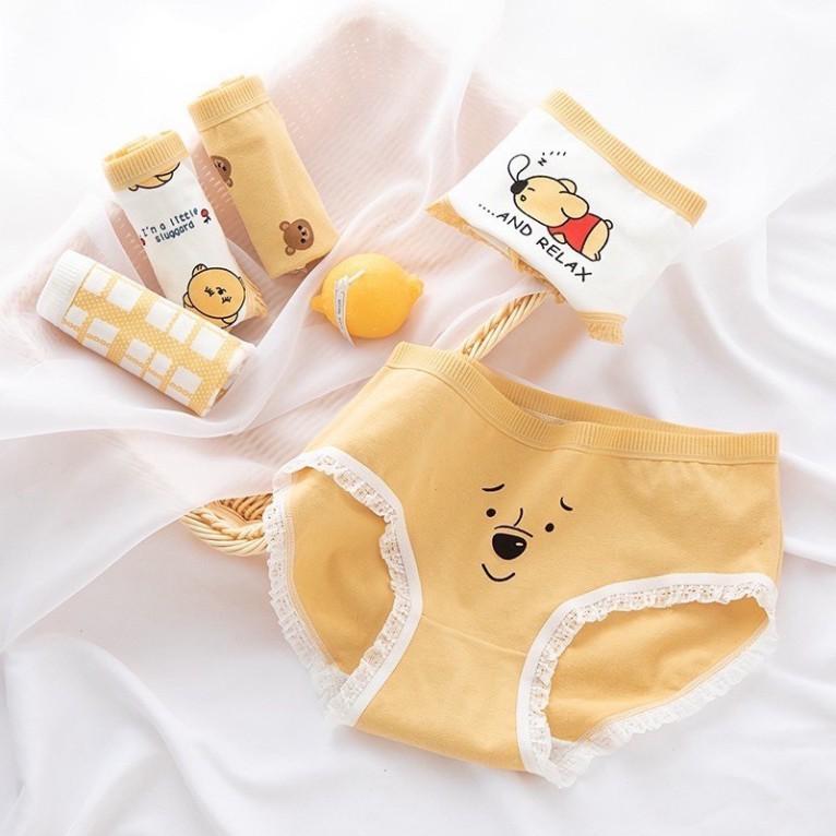 [CHE TÊN 100%] Quần Lót Nữ Cute 02 Quần Chíp Gấu Vàng Chất Cotton Quảng Châu Cao Cấp Sexy Xịn Đẹp Lamodu Shop