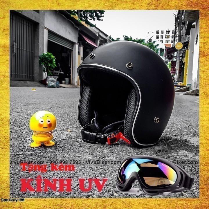 COMBO Nón bảo hiểm 3/4 đen nhám lót đỏ kèm kính UV cao cấp - Combo mũ bảo hiểm + kính nón bảo hiểm nhiều màu lựa chọn