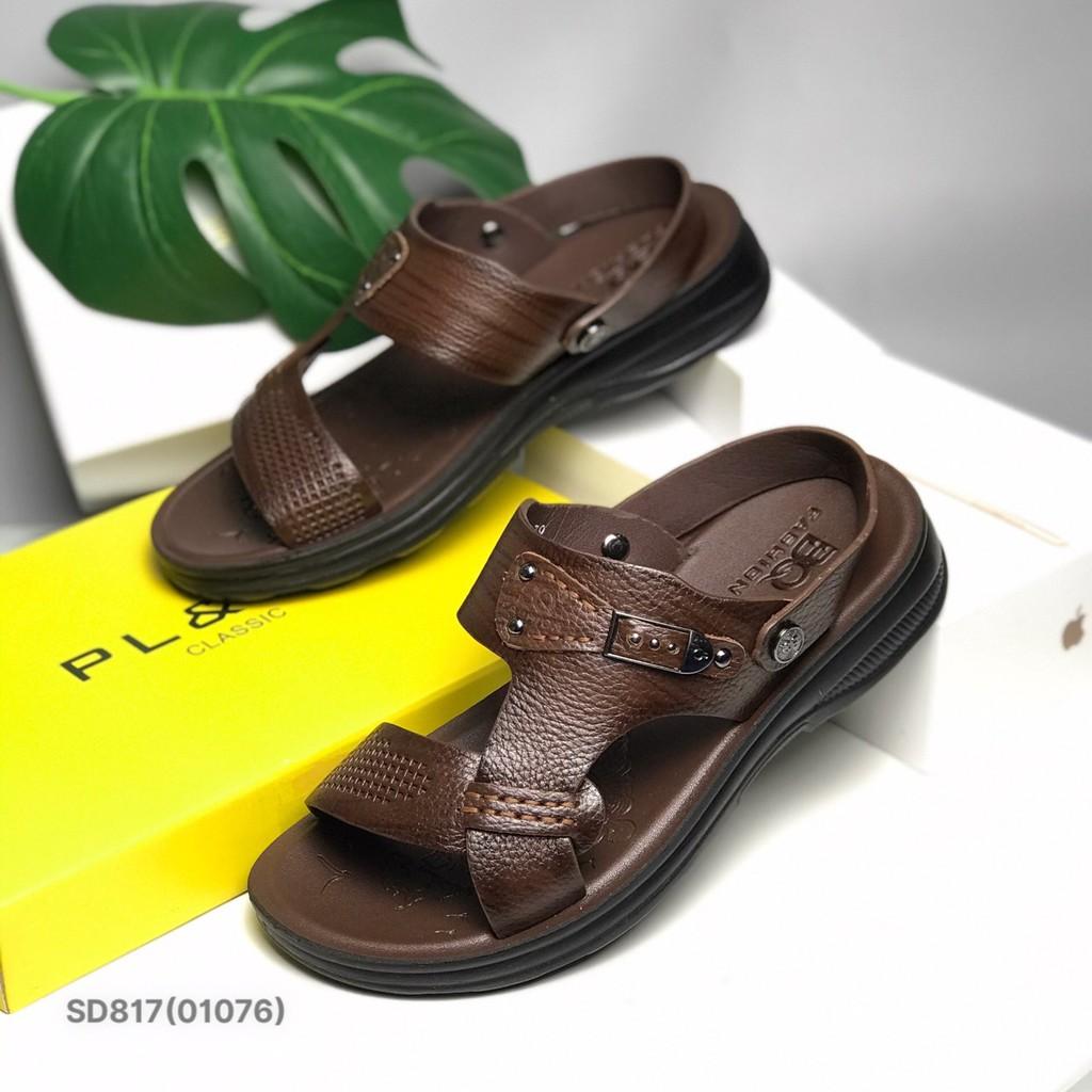 Sandal nam BQ ❤️FREESHIP❤️ Dép quai hậu trung niên da bò quai lật SD817