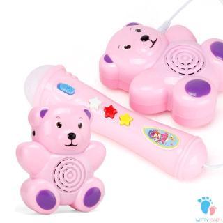 Acousto-optic Bear Music Microphone Children gift Toy Education Development