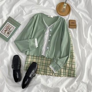 (SẴN) Áo cardigan giả 2 mảnh kèm fback