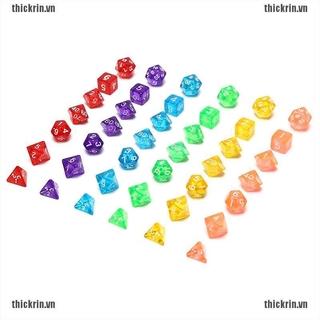 7pcs/lot Transparent Dice Set D4,D6,D8,D10,D10%,D12,D20 6 Colors Different Color