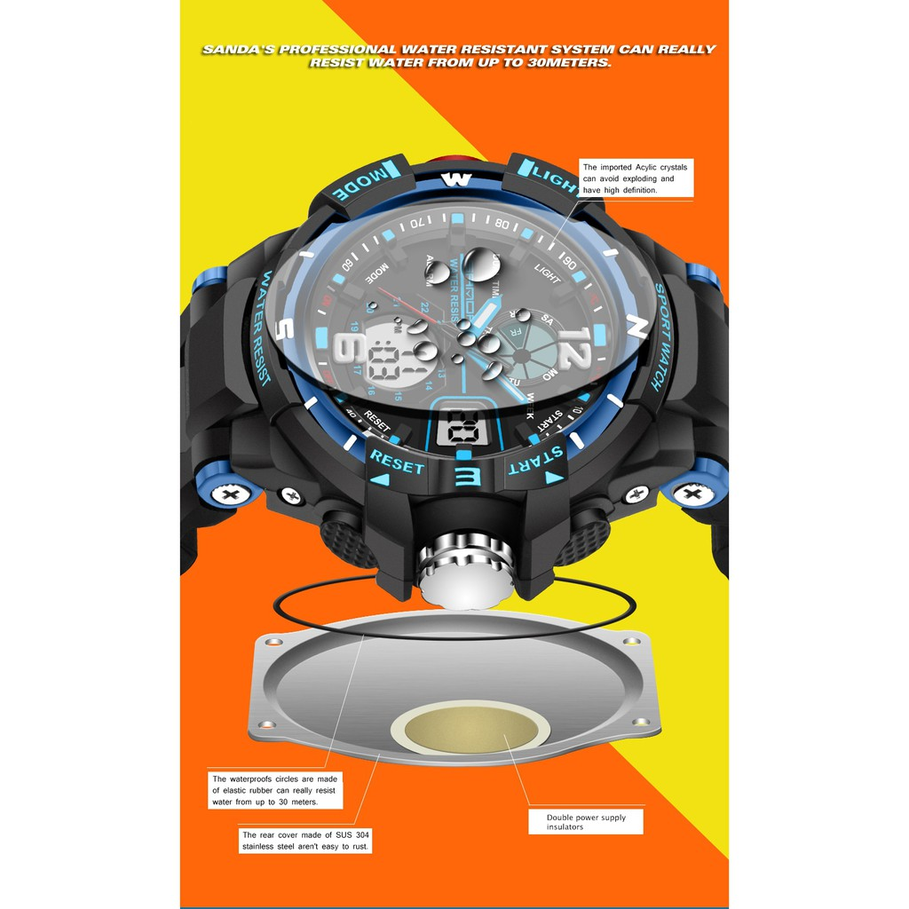Đồng hồ thể thao nam SANDA JAPAN 789 Chống nước Siêu bền
