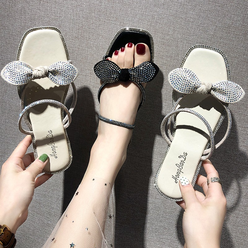 w Korean version of the wild fairy beach shoes bow students open toe two sandals