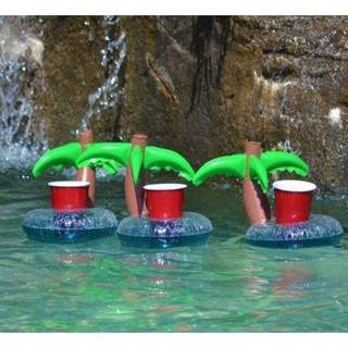 HOT Unique Floating Palm Island Inflatable Drink Can Holder Pool Bath Toys Party