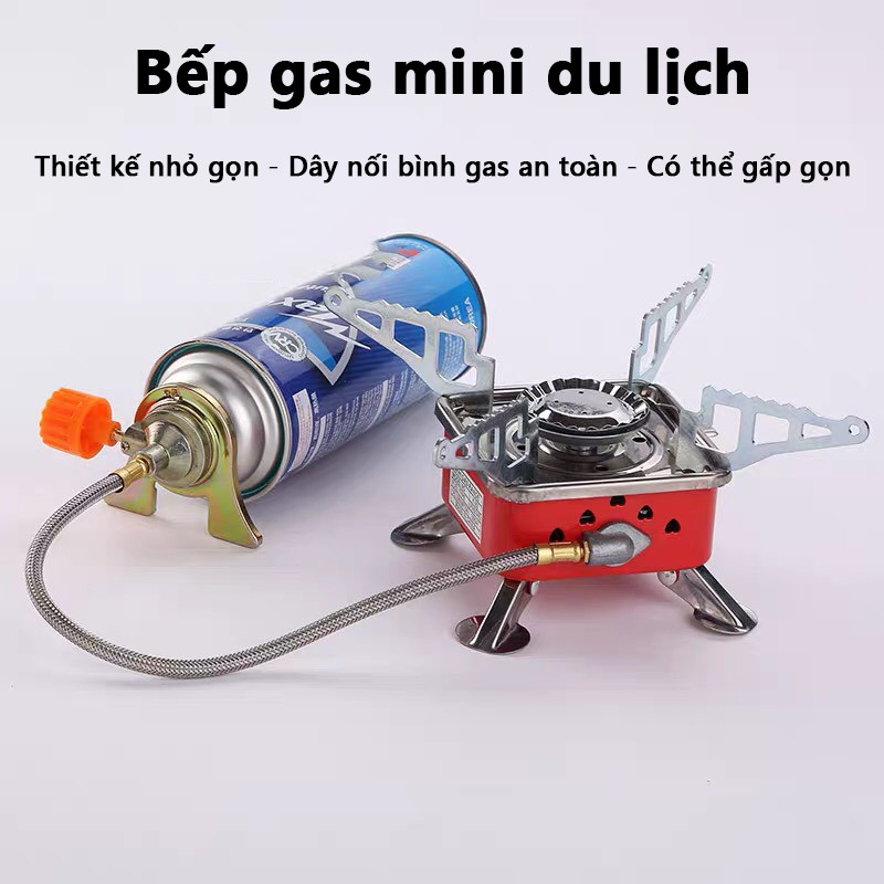 Bếp gas mini du lịch siêu nhỏ gọn có dây nối bình gas an toàn - Bếp gas du lịch dã ngoại có thể gấp gọn tiện lợi KL1