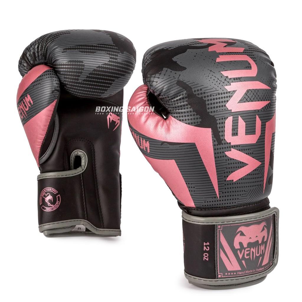 Găng tay boxing Venum Elite chính hãng - Black/Pink/Gold
