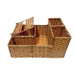 Khay mây MT09 đựng vật dụng giấy ăn, đũa, muỗng, các lọ gia vị và lọ tăm. thumbnail