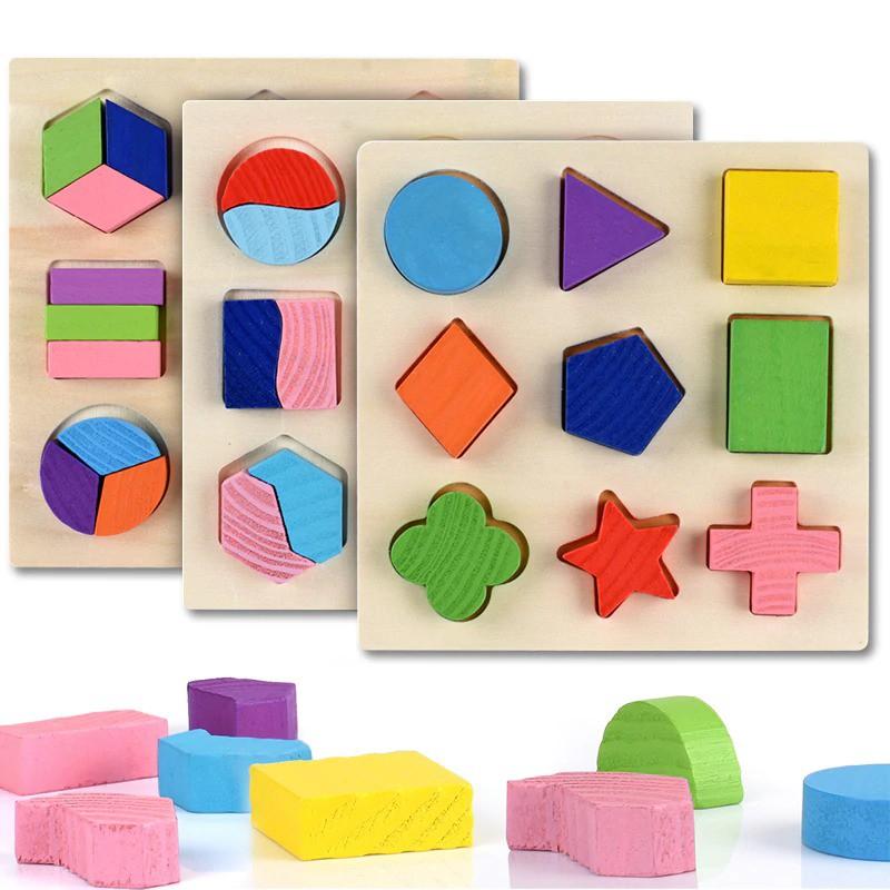 [ SALE] Bộ xếp các khối hình học bằng gỗ giúp bé phát triển trí tuệ sớm – Đồ chơi c