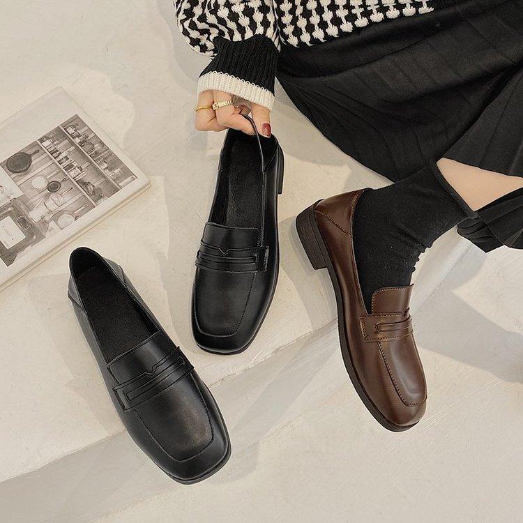 Giày búp bê da mũi vuông thanh lịch nữ tính