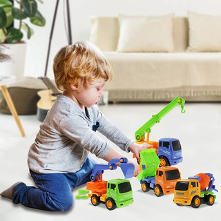 4pcs DIY Construction Engineer Vehicle Toy Colorful Dumper Excavator Mixer Crane Kids Truck Toys Model Puzzle Car