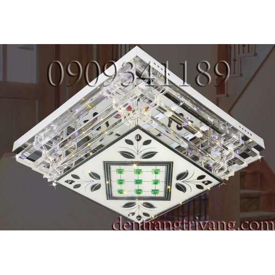 Đèn mâm LED vuông 3 chế độ màu điều khiển bằng remote phòng khách
