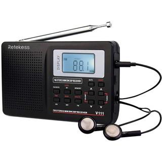Đài radio Retekess V111 hỗ trợ chức năng AM FM đồng hồ báo thức hoạt động bằng pin AA có tai nghe tiện dụng thumbnail