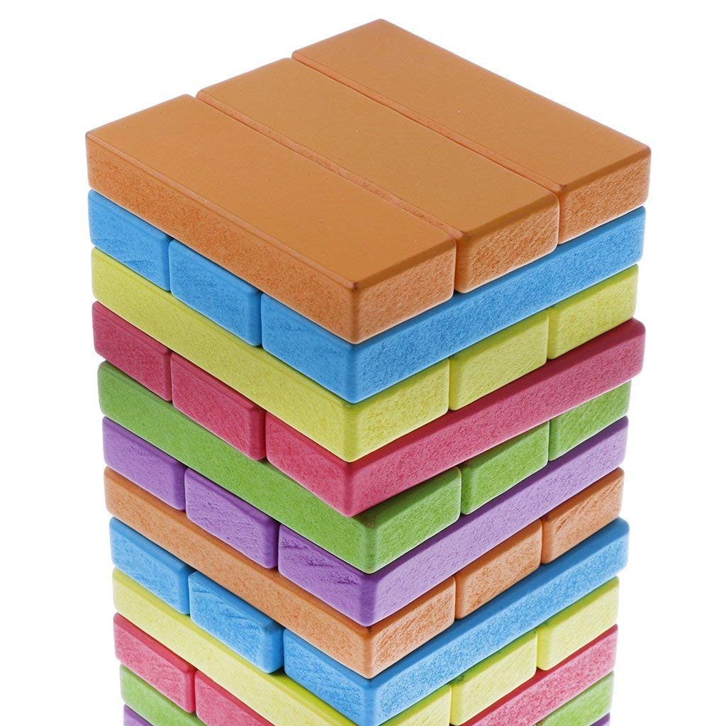 54pcs Wooden Tower Building Blocks Toy Domino Stacker Educational Game Toys