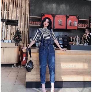 Quần Yếm bò thắt đai nơ, Quần Yếm jeans xanh thắt đai hàng VNXK
