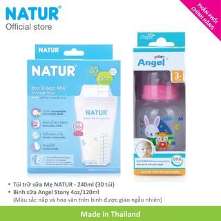 Combo Hộp 30 Túi Trữ Sữa NATUR BPA-free 240ml Bình Angel Stony 120ml