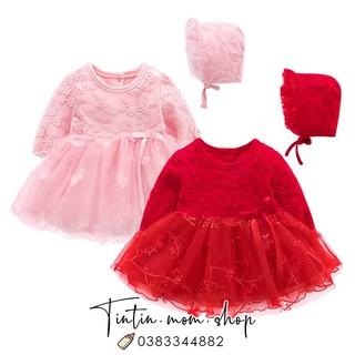 [Mã KIDEOM11 hoàn 100K xu đơn 500K] Váy công chúa hồng thêu hoa đầy tháng/ thôi nôi cho bé gái (kèm mũ bèo tiểu thư)