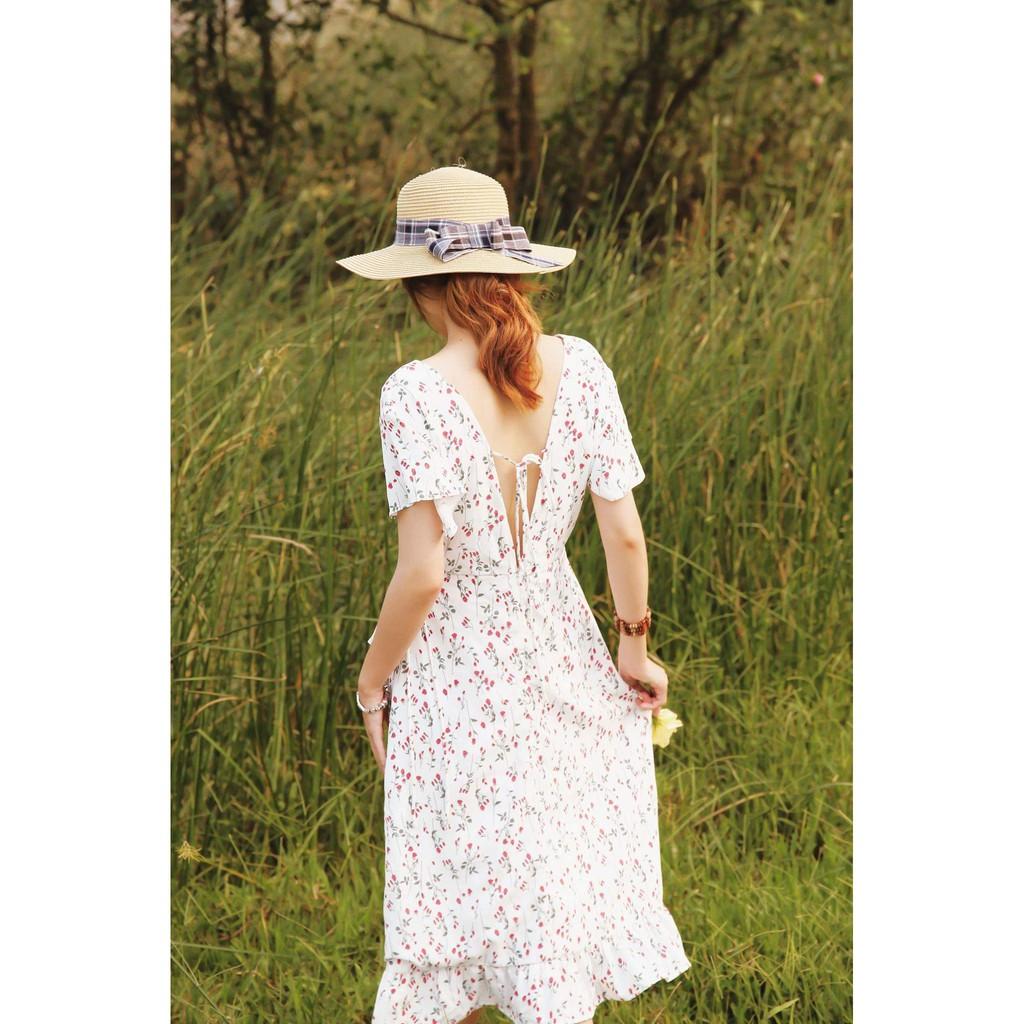 [Sale 5%] Váy thiết kế hoa nhí trắng hở lưng - Hello Sunshine