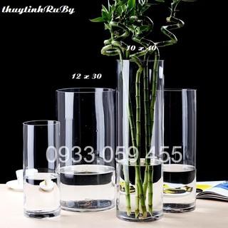 Bình Bông Lọ Hoa Thủy Tinh D10XH40Cm - Bình Hoa Trụ Tròn
