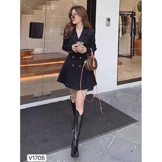 Váy dáng xòe cao cấp phối hàng cúc dọc áo tạo nên sự trẻ trung V1705_ Zin Boutique [Kèm ảnh thật] thumbnail