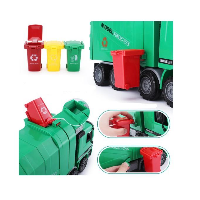 Mô hình xe chở rác tỉ lệ 1:10 kèm 3 thùng rác