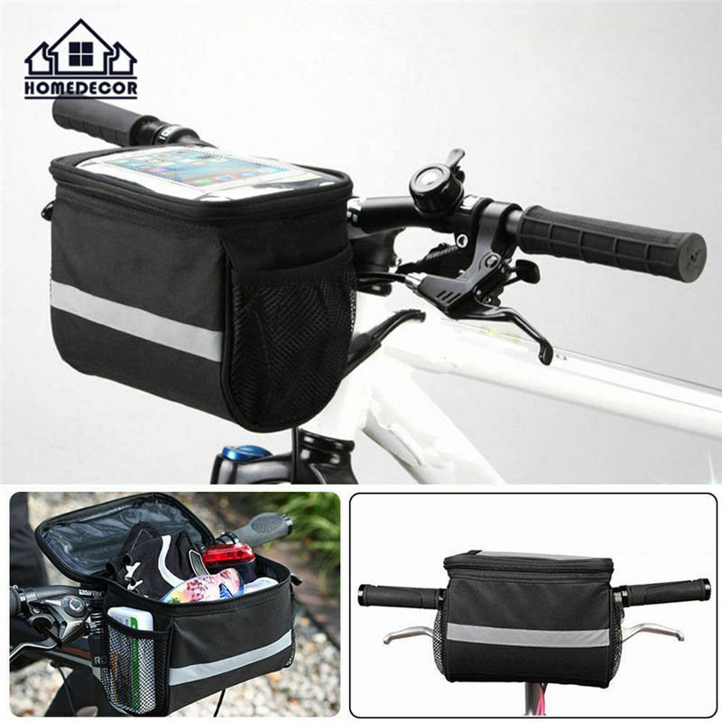 HD Bike Handlebar Bag Bicycle Frame Tube Cycling Pouch Lightweight Folding Road Bike Basket