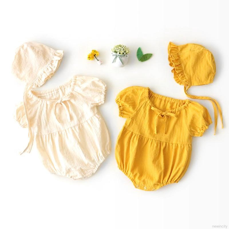 Infant Summer Round Collar Puff Sleeve Girls Cotton Jumpsuit Climb Soft Romper+Hat Two-piec