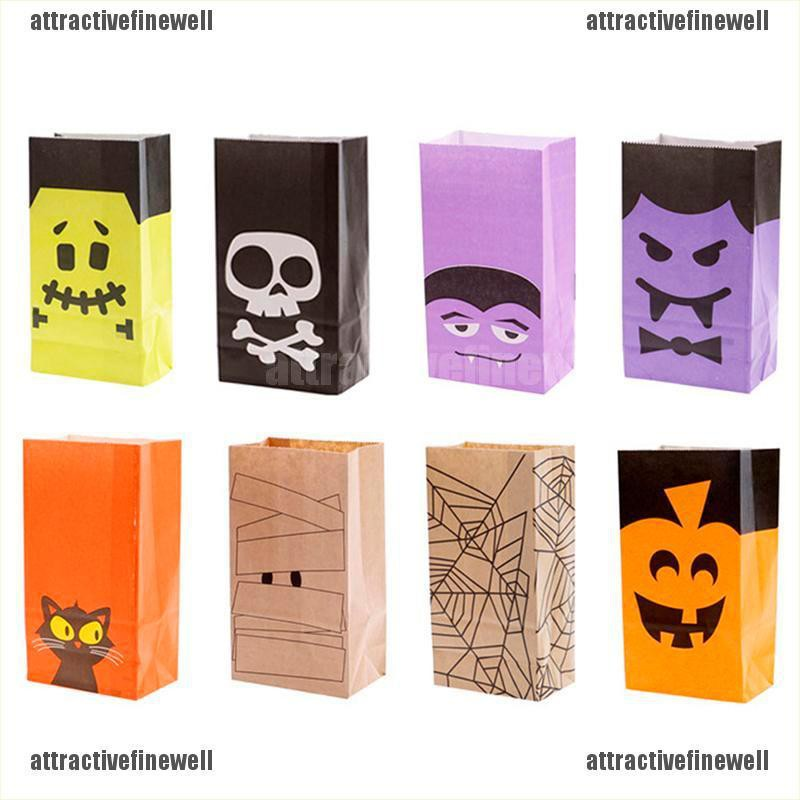 become beautiful 6Pcs Halloween Snacks Bags Wrapping Kraft Paper Bag Candy Bar Packing Pouches