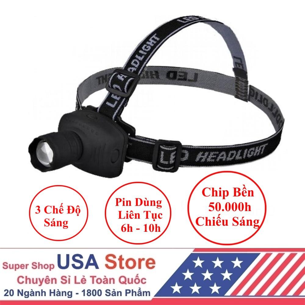 Đèn Pin Đội Đầu - Chip Led Siêu Sáng - 3 Chế Độ Sáng USA Store (Đen)