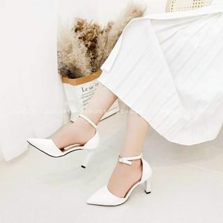 Giày Sandal Nữ Bít Mũi Bít Gót Đế Vuông Nhỏ Cao 7cm Có Quai Hậu Chắc Chắn - Ảnh Thật Kèm Video