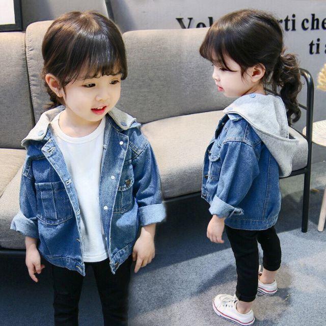Áo khoác jeans co giản, áo khoác cho bé có nón, áo khoác jean có nón